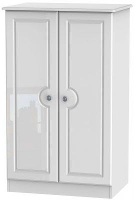 Pembroke High Gloss White 2 Door Plain Midi Wardrobe