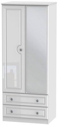 Pembroke High Gloss White 2 Door Mirror Combi Wardrobe