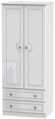 Pembroke High Gloss White 2 Door 2 Drawer 2ft 6in Wardrobe