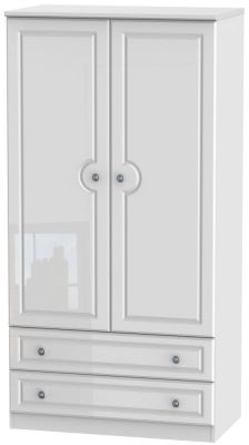 Pembroke High Gloss White 2 Door 2 Drawer 3ft Double Wardrobe