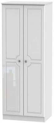 Pembroke High Gloss White 2 Door Tall Plain Wardrobe