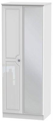 Pembroke High Gloss White 2 Door Tall Mirror Wardrobe