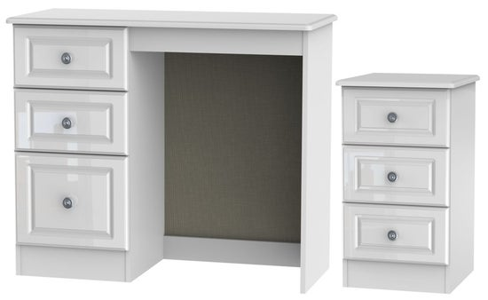 Pembroke High Gloss White 2 Piece Bedroom Set with 3 Drawer Bedside