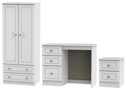 Pembroke White 3 Piece Bedroom Set with 2 Drawer Wardrobe