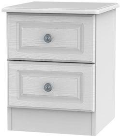 Pembroke White 2 Drawer Bedside Cabinet
