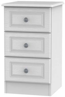 Pembroke White 3 Drawer Bedside Cabinet