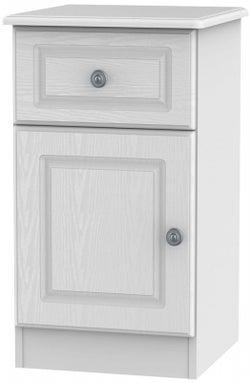 Pembroke White 1 Door 1 Drawer Bedside Cabinet Left Hand Side