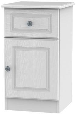 Pembroke White 1 Door 1 Drawer Bedside Cabinet Right Hand Side