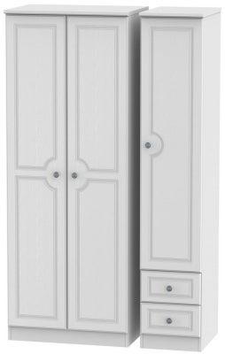 Pembroke White 3 Door 2 Right Drawer Tall Plain Wardrobe