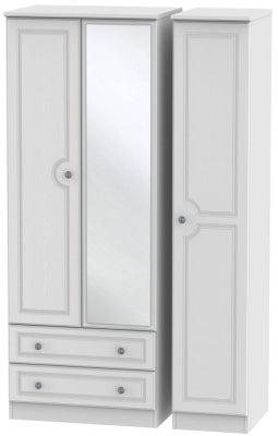 Pembroke White 3 Door 2 Left Drawer Tall Mirror Wardrobe