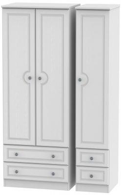 Pembroke White 3 Door 4 Drawer Tall Wardrobe