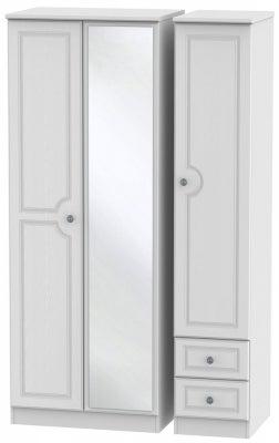 Pembroke White 3 Door 2 Right Drawer Tall Mirror Wardrobe