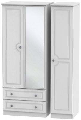 Pembroke White 3 Door 2 Left Drawer Mirror Wardrobe