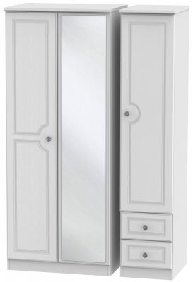 Pembroke White 3 Door 2 Right Drawer Mirror Wardrobe