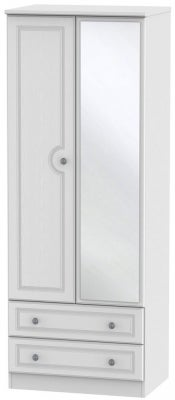 Pembroke White 2 Door Tall Mirror Combi Wardrobe
