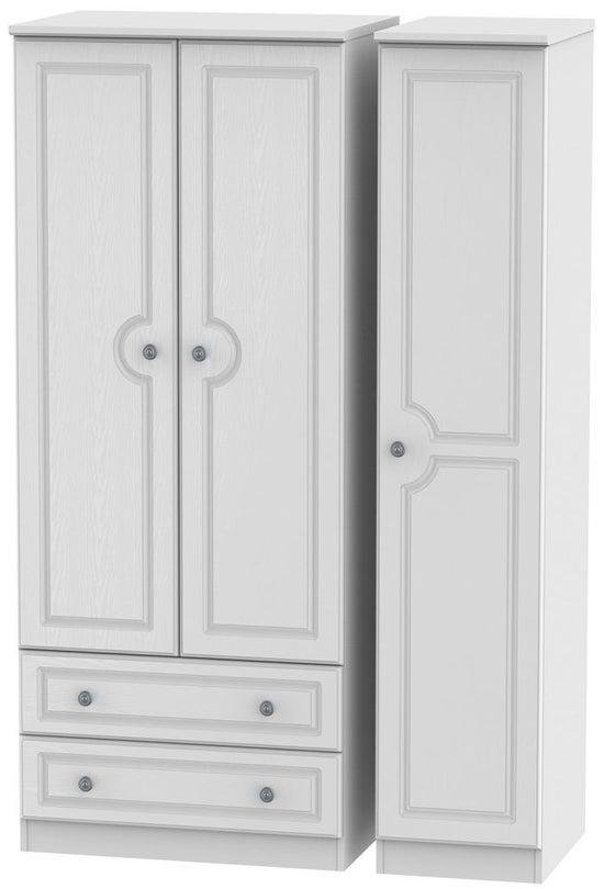 Pembroke White 3 Door 2 Left Drawer Wardrobe