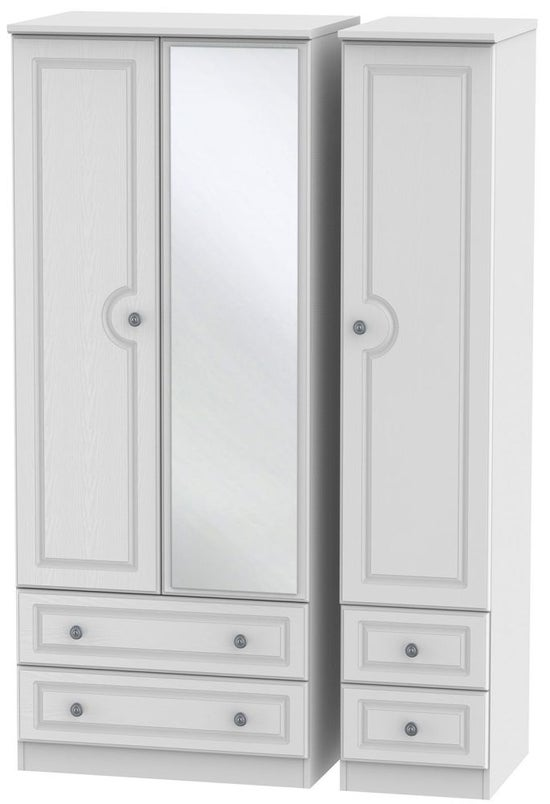 Pembroke White 3 Door 4 Drawer Mirror Wardrobe