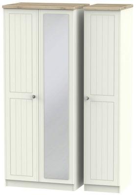 Rome 3 Door Mirror Wardrobe - Bordeaux Oak and Cream Ash
