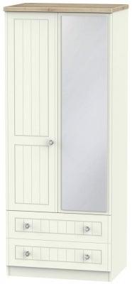 Rome 2 Door 2 Drawer Combi Wardrobe - Bordeaux Oak and Cream Ash