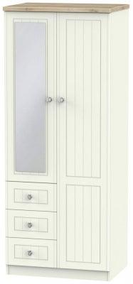 Rome 2 Door 3 Drawer Combi Wardrobe - Bordeaux Oak and Cream Ash