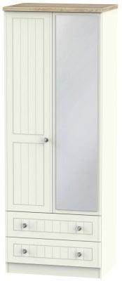 Rome 2 Door 2 Drawer Tall Combi Wardrobe - Bordeaux Oak and Cream Ash