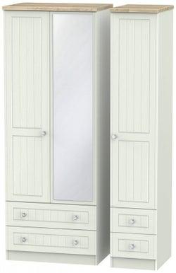 Rome 3 Door 4 Drawer Tall Combi Wardrobe - Bordeaux Oak and Kaschmir Ash