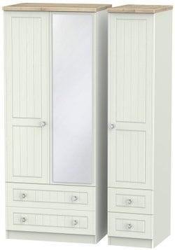 Rome 3 Door 4 Drawer Combi Wardrobe - Bordeaux Oak and Kaschmir Ash