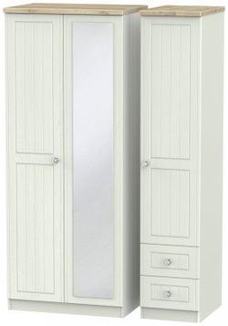 Rome 3 Door 2 Right Drawer Combi Wardrobe - Bordeaux Oak and Kaschmir Ash