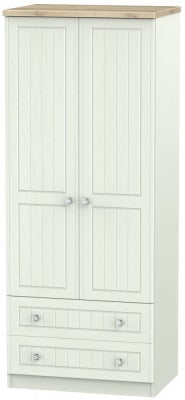 Rome 2 Door 2 Drawer Wardrobe - Bordeaux Oak and Kaschmir Ash