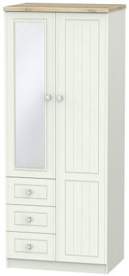Rome 2 Door 3 Drawer Combi Wardrobe - Bordeaux Oak and Kaschmir Ash