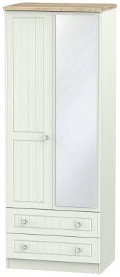 Rome 2 Door 2 Drawer Tall Combi Wardrobe - Bordeaux Oak and Kaschmir Ash