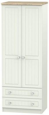 Rome 2 Door 2 Drawer Tall Wardrobe - Bordeaux Oak and Kaschmir Ash