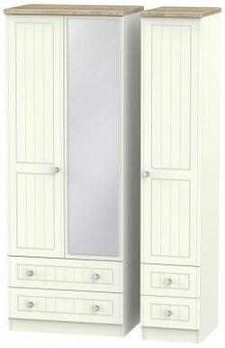 Rome 3 Door 4 Drawer Tall Combi Wardrobe - Bordeaux Oak and Porcelain Ash