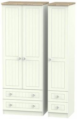 Rome 3 Door 4 Drawer Tall Wardrobe - Bordeaux Oak and Porcelain Ash