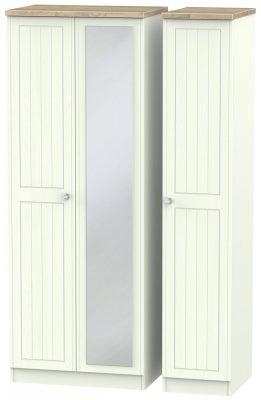 Rome 3 Door Tall Mirror Wardrobe - Bordeaux Oak and Porcelain Ash