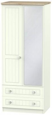 Rome 2 Door 2 Drawer Combi Wardrobe - Bordeaux Oak and Porcelain Ash