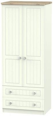 Rome 2 Door 2 Drawer Wardrobe - Bordeaux Oak and Porcelain Ash