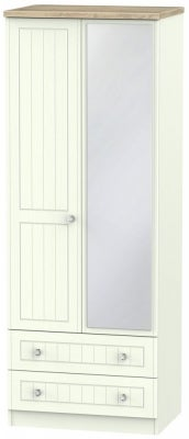 Rome 2 Door 2 Drawer Tall Combi Wardrobe - Bordeaux Oak and Porcelain Ash