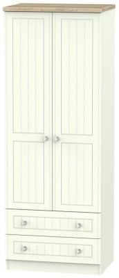 Rome 2 Door 2 Drawer Tall Wardrobe - Bordeaux Oak and Porcelain Ash