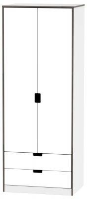 Shanghai High Gloss White 2 Door 2 Drawer Wardrobe