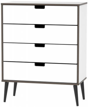 Shanghai High Gloss White 4 Drawer Chest with Wooden Legs