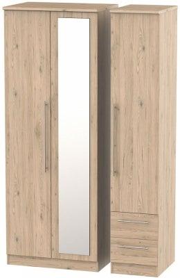 Sherwood Bordeaux Oak 3 Door 2 Drawer Tall Combi Wardrobe