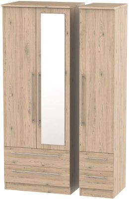 Sherwood Bordeaux Oak 3 Door 4 Drawer Tall Combi Wardrobe
