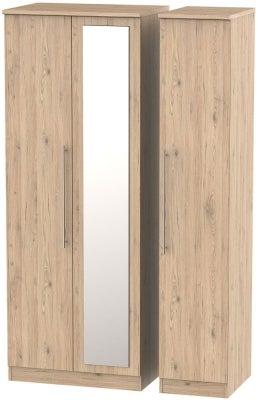 Sherwood Bordeaux Oak 3 Door Tall Mirror Wardrobe