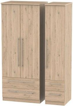 Sherwood Bordeaux Oak 3 Door 4 Drawer Wardrobe