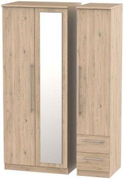 Sherwood Bordeaux Oak 3 Door 2 Drawer Combi Wardrobe