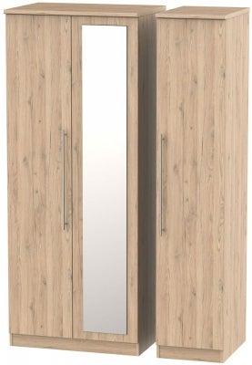 Sherwood Bordeaux Oak 3 Door Mirror Wardrobe