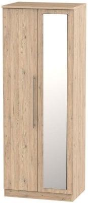 Sherwood Bordeaux Oak 2 Door Tall Mirror Wardrobe