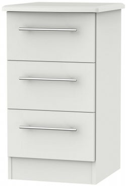 Sherwood Grey Matt 3 Drawer Bedside Cabinet