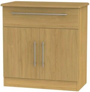 Sherwood Modern Oak 2 Door 1 Drawer Narrow Sideboard